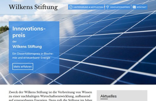 Screenshot: Wilkens Stiftung